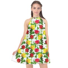 Rose Pattern Roses Background Image Halter Neckline Chiffon Dress  by Sapixe