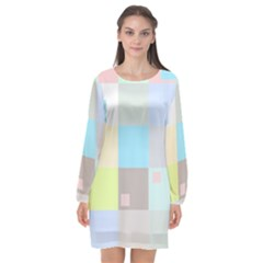 Pastel Diamonds Background Long Sleeve Chiffon Shift Dress  by Sapixe