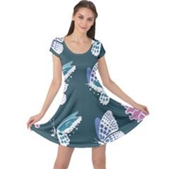 Butterfly Pattern Dead Death Rose Cap Sleeve Dress