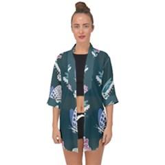 Butterfly Pattern Dead Death Rose Open Front Chiffon Kimono by Sapixe