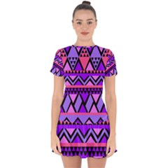 Seamless Purple Pink Pattern Drop Hem Mini Chiffon Dress by Sapixe