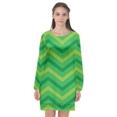Green Background Abstract Long Sleeve Chiffon Shift Dress  by Sapixe
