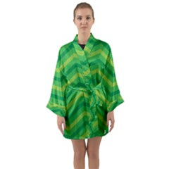 Green Background Abstract Long Sleeve Kimono Robe by Sapixe