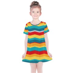 Retro Colors 60 Background Kids  Simple Cotton Dress