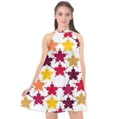Background Abstract Halter Neckline Chiffon Dress  by Sapixe