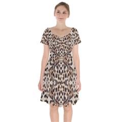 Pattern Leopard Skin Background Short Sleeve Bardot Dress by Sapixe