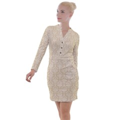 Damask 937607 960 720 Button Long Sleeve Dress by vintage2030