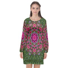 Fantasy Floral Wreath In The Green Summer  Leaves Long Sleeve Chiffon Shift Dress  by pepitasart