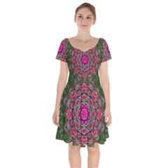 Fantasy Floral Wreath In The Green Summer  Leaves Short Sleeve Bardot Dress by pepitasart