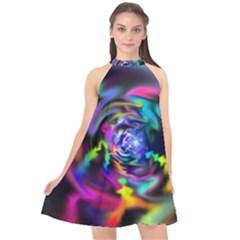 Soft Blend Color Wheel Halter Neckline Chiffon Dress  by bloomingvinedesign
