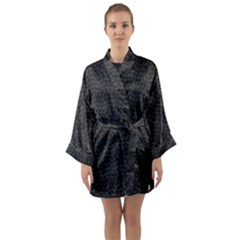 Wavy Grid Dark Pattern Long Sleeve Kimono Robe by dflcprints