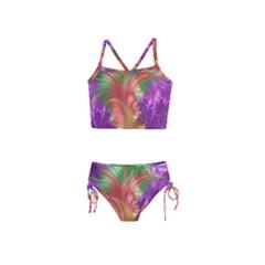 Fractal Purple Green Orange Yellow Girls  Tankini Swimsuit