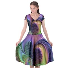 Fractal Artwork Art Swirl Vortex Cap Sleeve Wrap Front Dress by Samandel