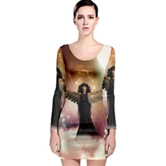 Awesome Dark Fairy In The Sky Long Sleeve Bodycon Dress by FantasyWorld7