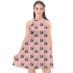 Panda With Bamboo Pink Halter Neckline Chiffon Dress  by snowwhitegirl