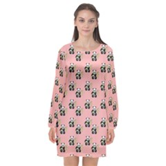 Panda With Bamboo Pink Long Sleeve Chiffon Shift Dress  by snowwhitegirl