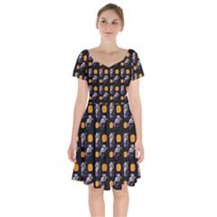 Halloween Skeleton Pumpkin Pattern Black Short Sleeve Bardot Dress by snowwhitegirl