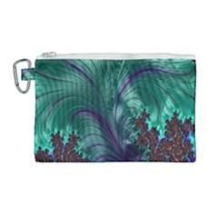 Fractal Turquoise Feather Swirl Canvas Cosmetic Bag (large)
