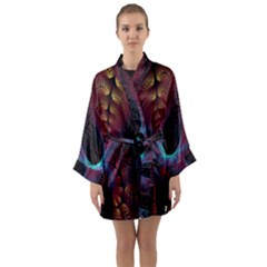 Abstract Abstracts Geometric Long Sleeve Kimono Robe
