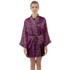 Modern Asian Ornate Pattern Long Sleeve Kimono Robe