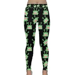 Green Alien Monster Pattern Black Classic Yoga Leggings