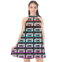Three Color Ombre Cassette Halter Neckline Chiffon Dress  by snowwhitegirl