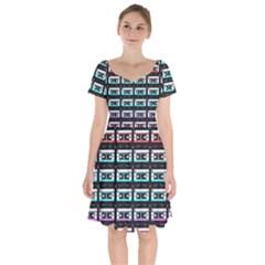 Three Color Ombre Cassette Short Sleeve Bardot Dress by snowwhitegirl
