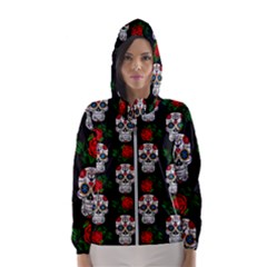 Skull Pattern Black Hooded Windbreaker (women) by snowwhitegirl
