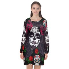 Mexican Skull Lady Long Sleeve Chiffon Shift Dress  by snowwhitegirl