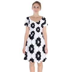 Black And White Pattern Short Sleeve Bardot Dress by Simbadda