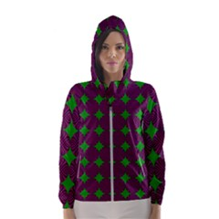 Bright Mod Pink Green Circle Pattern Hooded Windbreaker (women) by BrightVibesDesign