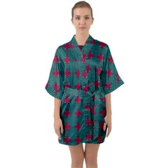 Mod Teal Red Circles Pattern Quarter Sleeve Kimono Robe by BrightVibesDesign