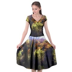 Fall Abstract Landscape Cap Sleeve Wrap Front Dress by bloomingvinedesign