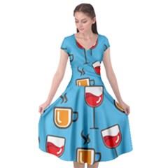 Design Decoration Decor Pattern Cap Sleeve Wrap Front Dress by Simbadda