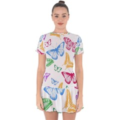 Butterfly Butterflies Vintage Drop Hem Mini Chiffon Dress by Simbadda
