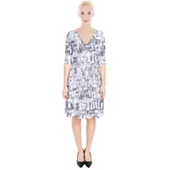 Black And White Background Wallpaper Pattern Wrap Up Cocktail Dress