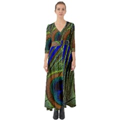 Peacock Feather Macro Peacock Bird Button Up Boho Maxi Dress by Simbadda