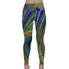 Peacock Feather Macro Peacock Bird Lightweight Velour Classic Yoga Leggings by Simbadda