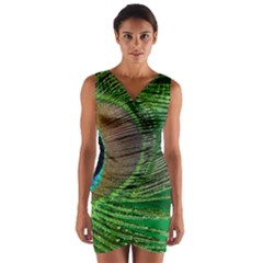 Peacock Feather Macro Peacock Bird Wrap Front Bodycon Dress by Simbadda