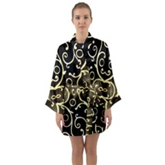 Black Embossed Swirls In Gold By Flipstylez Designs Long Sleeve Kimono Robe by flipstylezdes