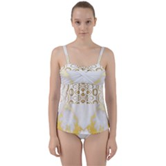 Ivory Marble  In Gold By Flipstylez Designs Twist Front Tankini Set by flipstylezfashionsLLC