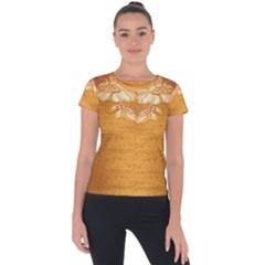 Golden Sunrise Pattern Flowers By Flipstylez Designs Short Sleeve Sports Top  by flipstylezfashionsLLC