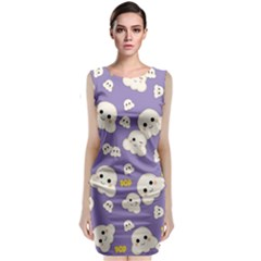 Cute Kawaii Popcorn Pattern Classic Sleeveless Midi Dress by Valentinaart