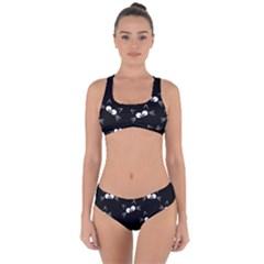 Cute Black Cat Pattern Criss Cross Bikini Set by Valentinaart