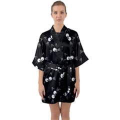 Cute Black Cat Pattern Quarter Sleeve Kimono Robe by Valentinaart