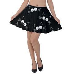 Cute Black Cat Pattern Velvet Skater Skirt by Valentinaart