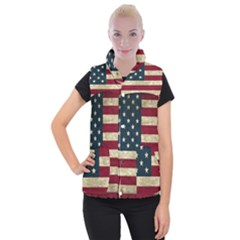 Vintage American Flag Women s Button Up Vest by Valentinaart