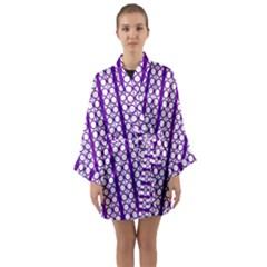 Circles Lines Purple White Modern Design Long Sleeve Kimono Robe by BrightVibesDesign