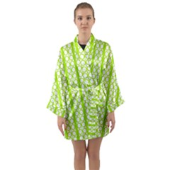 Circle Stripes Lime Green Modern Pattern Design Long Sleeve Kimono Robe by BrightVibesDesign