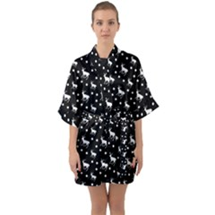 Deer Dots Black Quarter Sleeve Kimono Robe by snowwhitegirl